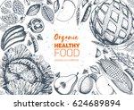 healthy food frame vector... | Shutterstock .eps vector #624689894