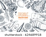 healthy food frame vector... | Shutterstock .eps vector #624689918
