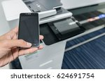 using smart phone with printer... | Shutterstock . vector #624691754