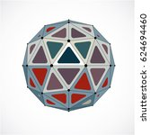 3d low poly spherical object... | Shutterstock . vector #624694460