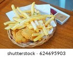 chicken fried and french fries... | Shutterstock . vector #624695903