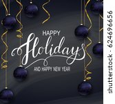 greeting card for winter happy... | Shutterstock . vector #624696656