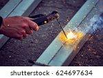 work with welding equipment... | Shutterstock . vector #624697634