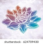 vector lotus flower  ethnic art ... | Shutterstock .eps vector #624709430