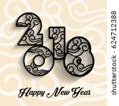 2018 chinese new year card... | Shutterstock .eps vector #624712388