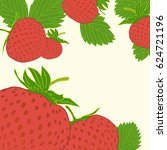 frame with strawberry doodle... | Shutterstock .eps vector #624721196