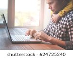 father and son at home working... | Shutterstock . vector #624725240