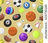 sport balls seamless pattern... | Shutterstock .eps vector #624730184