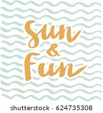 summer cards with hand drawing... | Shutterstock .eps vector #624735308