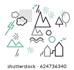 vector logotypes  icons. two... | Shutterstock .eps vector #624736340
