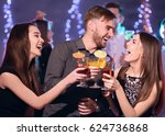 friends with tasty cocktails at ... | Shutterstock . vector #624736868