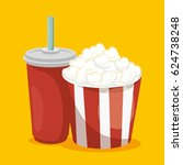 pop corn with soda isolated icon | Shutterstock .eps vector #624738248