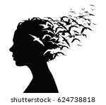 black silhouette portrait of a... | Shutterstock .eps vector #624738818