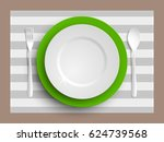 plate  spoon and fork isolated... | Shutterstock .eps vector #624739568
