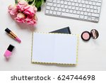 woman desk with accessories and ... | Shutterstock . vector #624744698
