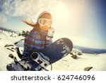 Girl Snowboarder Enjoys The Ski ...