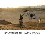 horses are friends and helpers... | Shutterstock . vector #624749738