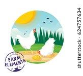 farm cartoon chicken vector...   Shutterstock .eps vector #624757634