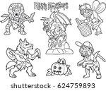 cartoon funny monsters set of... | Shutterstock .eps vector #624759893