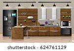 modern interior of wooden... | Shutterstock .eps vector #624761129