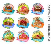 colorful candy shop stickers... | Shutterstock .eps vector #624761510