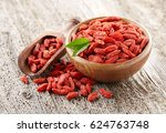 Goji Berry On A Wooden...