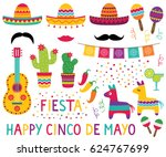 cinco de mayo vector set ... | Shutterstock .eps vector #624767699