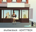 stylish guy at the hairdresser... | Shutterstock .eps vector #624777824