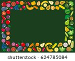 set of vegetables and fruits... | Shutterstock .eps vector #624785084