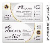 gift voucher set in white and... | Shutterstock .eps vector #624786374