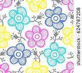 summer flowers pattern ...   Shutterstock .eps vector #624787208