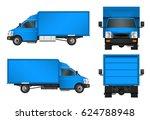blue truck template. cargo van... | Shutterstock .eps vector #624788948