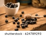blueberry honey with a bowl of... | Shutterstock . vector #624789293