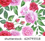 seamless floral pattern with... | Shutterstock . vector #624795518