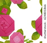 origami paper pink rose pattern | Shutterstock . vector #624801866