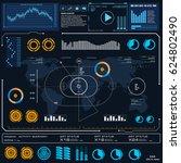 futuristic blue virtual graphic ... | Shutterstock .eps vector #624802490