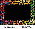 set of vegetables and fruits... | Shutterstock . vector #624804734