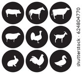 farm animals icons set. white... | Shutterstock .eps vector #624804770