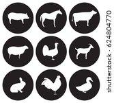 farm animals icons set. white... | Shutterstock .eps vector #624804770
