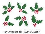 set of holly berry vector... | Shutterstock .eps vector #624806054