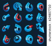 3d abstract icons set  simple... | Shutterstock . vector #624807710