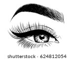 beautiful eye with eyeliner and ... | Shutterstock .eps vector #624812054