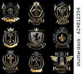 heraldic coat of arms created... | Shutterstock . vector #624812354