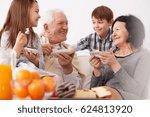 grandparents and grandchildren... | Shutterstock . vector #624813920