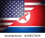 usa and north korea flags... | Shutterstock .eps vector #624817634