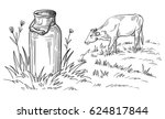 milk cans with grass country... | Shutterstock .eps vector #624817844