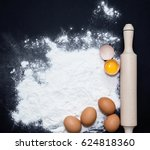eggs  rolling pin and flour on ... | Shutterstock . vector #624818360