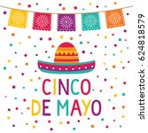cinco de mayo vector card with... | Shutterstock .eps vector #624818579