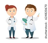 cute illustration of two doctors | Shutterstock .eps vector #624820670
