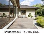 wooden deck of a terrace by a... | Shutterstock . vector #624821333